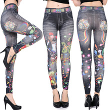 цена на Leggings Womens Blue Floral Super Smooth Denim Skimmer Legging 2017 Denim Leggings Jeans Skinny Jeggings Stretchy Slim Leggings