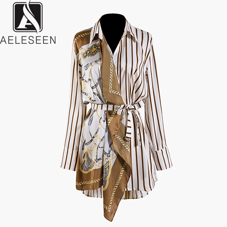 AELESEEN Runway Vintage long Jackets 2019 Autumn Fashion Camel Striped Turn-Down Collar High Office Lady Coat Women With Sashes