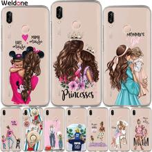 Cute Super Mom Baby Girl Phone For Huawei P30 P20 Lite Pro P10 Plus P8 P9 2017 P Smart Family phone case Cover Etui