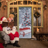 HAOCHU 2Pcs 3D Creative Door Stickers Christmas Tree Snow Scenery Sticker DIY Mural Room Home Decor