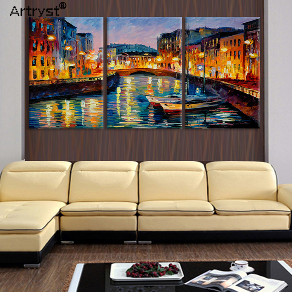 50 Lake House Living Room Decor Ideas: 3 Panel Abstract Painting Canvas Venice Lake Home Decor