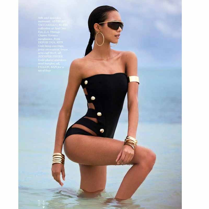 цена на High Quality Sexy Women One Piece Black Strap Swimsuit Monokini Swimwear Strapless Bathing Suit Bodysuit Maillot De Bain Femme