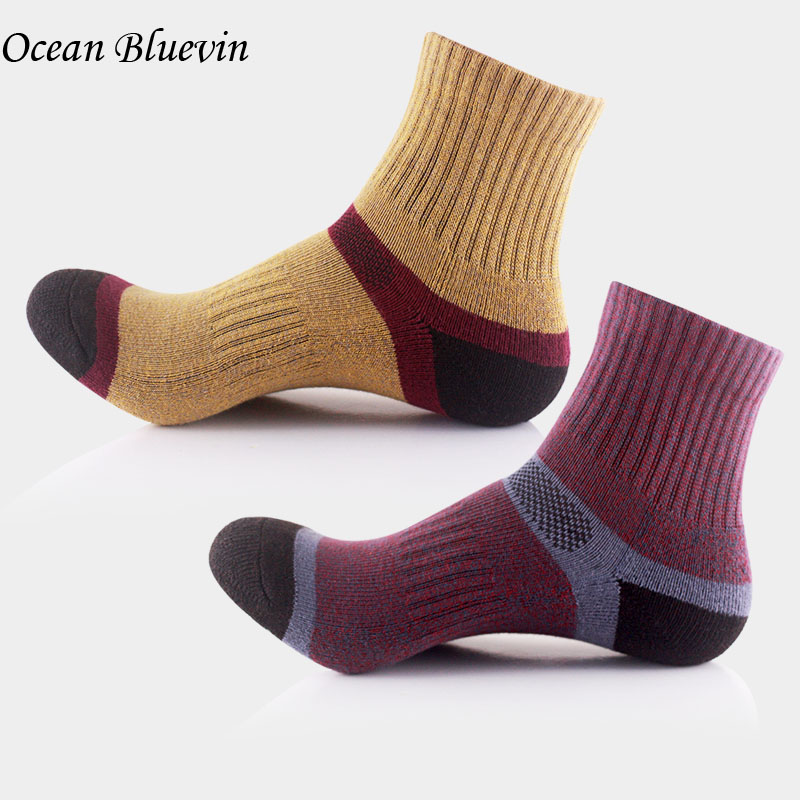 Quality Spring Winter Mens Socks Color Block Stitching Thick Cotton Quick Drying Suture Anti-skid Soft Casual Comfort Sock Meias