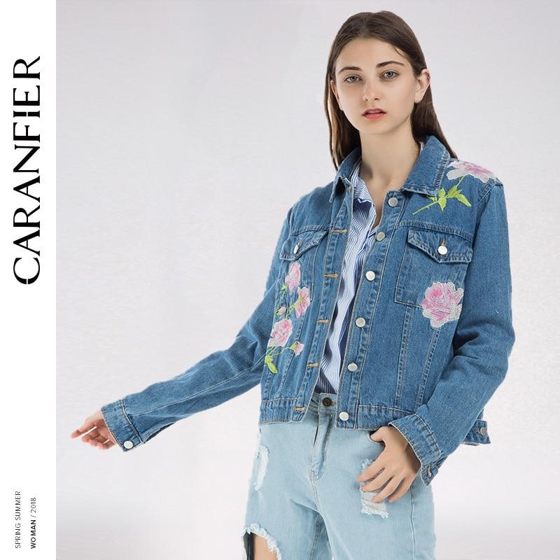 CARANFIER Denim   Jacket   Women   Jacket   Fashion Denim Shirt Tops Long Sleeves Blue Vintage Boho Hippie Chic Embroidery   Basic     Jackets