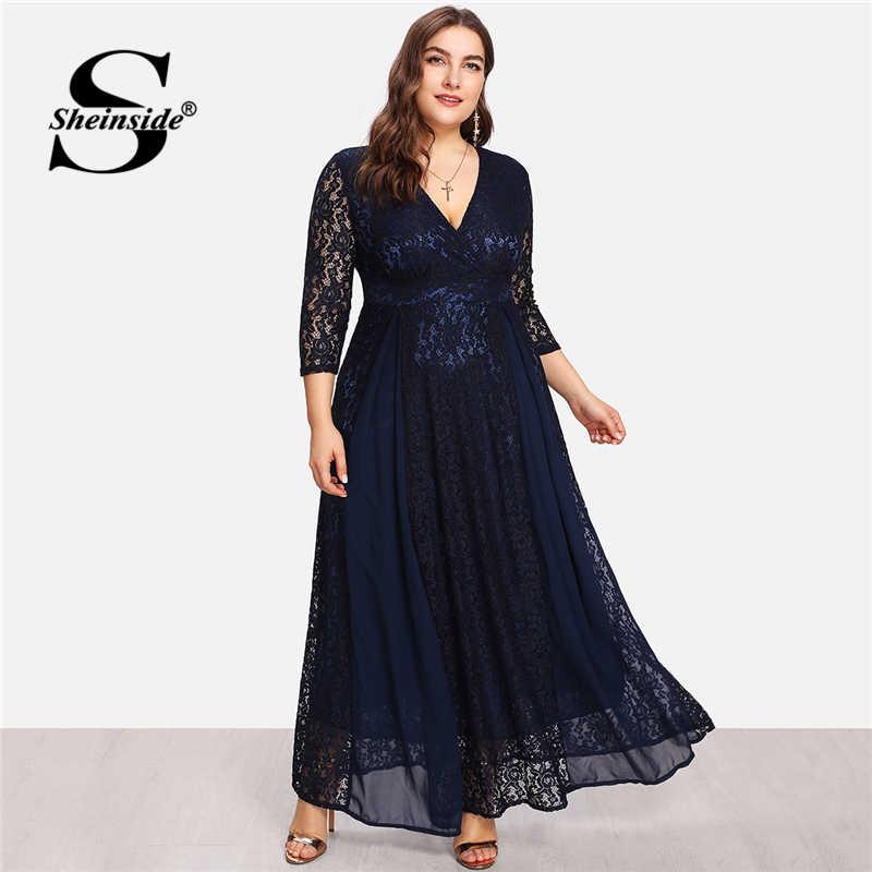 d597ea4ec2 Sheinside Plus Size Deep V Neck Floral A Line Lace Going Out Dress ...