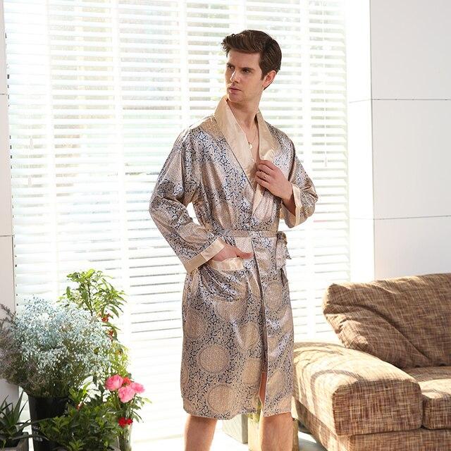 Новый Демисезонный роскошный халат мужские принт плюс Размеры шелковый атлас пижамы кимоно лето мужской ночной рубашке Китайский шелковый халат
