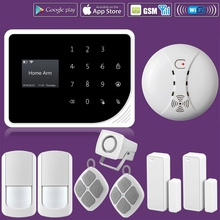 WIFI GSM Alarm Systems Security Home Smoke Fire Alarm Detector APP Control PIR Motion Sensor DIY KIT For Free Shipping wifi gsm home burglar security alarm system motion detector app control fire smoke detector alarm with outdoor solar siren