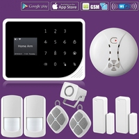 WIFI GSM Alarm Systems Security Home Smoke Fire Alarm Detector APP Control PIR Motion Sensor DIY KIT For Free Shipping