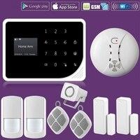 WIFI GSM Alarm Systems Security Home Smoke Fire Alarm Detector APP Control PIR Motion Sensor DIY KIT For Free Shipping