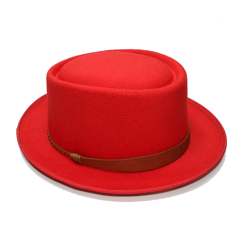 LUCKYLIANJI Retro Vintage 100% Wool Round Top Cap Fedora Porkpie Pork Pie  Bowler Hat Leather Braid Band ( 60CM 7 1 2 Adjust)-in Fedoras from Men s  Clothing ... abe7e03ea722