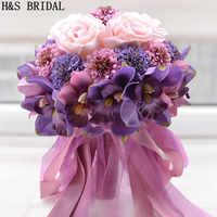 美しい紫ピンク色のブライダルのウエディングフラワーウェディングブーケ人工花ローズブライダルブーケ