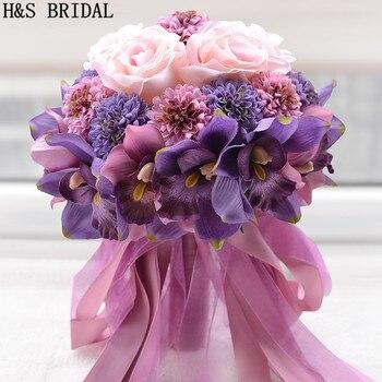 Güzel Mor Pembe Renk Gelin Gelinlik çiçek Düğün Buket Yapay çiçek