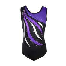 8fb019e16bb0 Girls Ballet Leotards Kids Children Bodysuits Dance Wear Sleeveless Striped  Sparkle Athletic Gymnastics Costumes