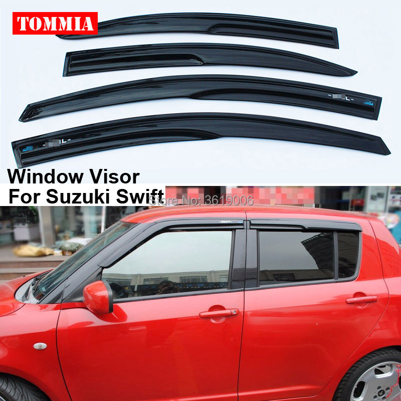 tommia 4pcs Window Visor Shade Vent Wind Rain Deflector Guards Cover For Suzuki Swift 2015 2017 car wind deflector awnings shelters for hilux vigo revo black window deflector guard rain shield fit for hilux revo