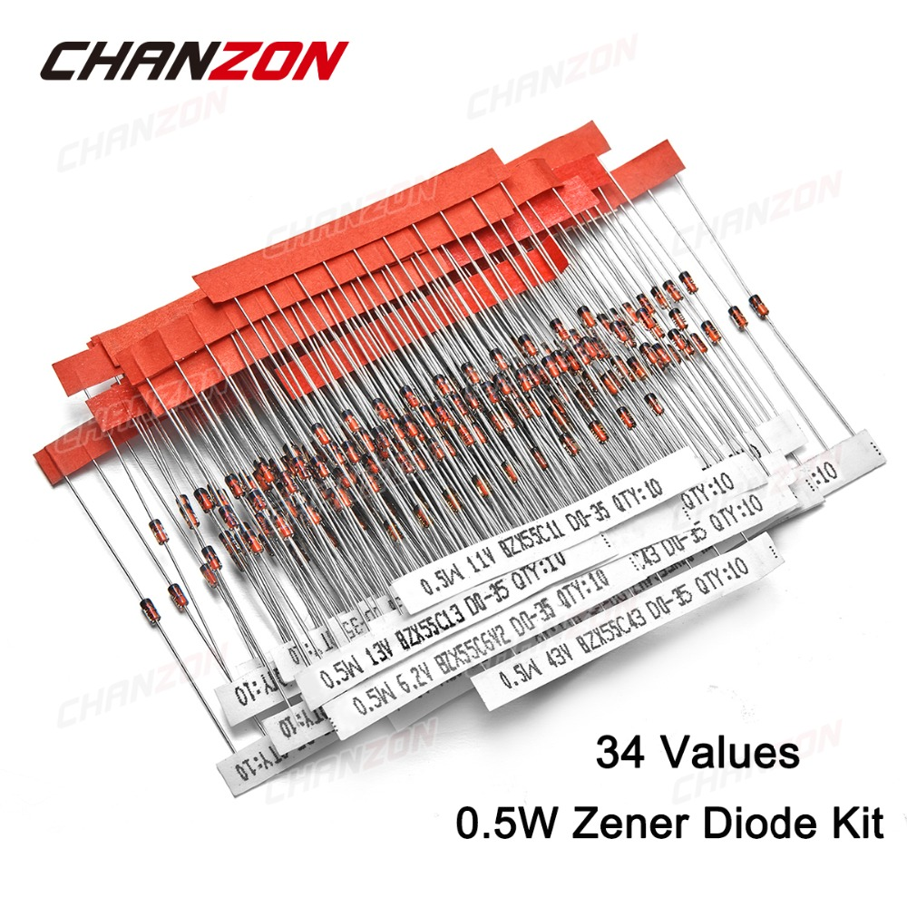 Super Steady Zener Diode Circuit 270 Pcs 24v 33v 27 Values 1 2w 05w Assorted Kit Active 2v 3v 36v 51v 56v
