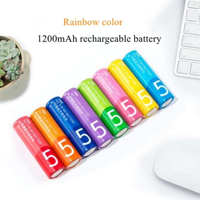 Colorful 8pcs/lot 1.2V 1200mah rainbow color NI MH rechareabl battery  AA AAA rechareable battery KTV microphone remote control-in Rechargeable Batteries from Consumer Electronics