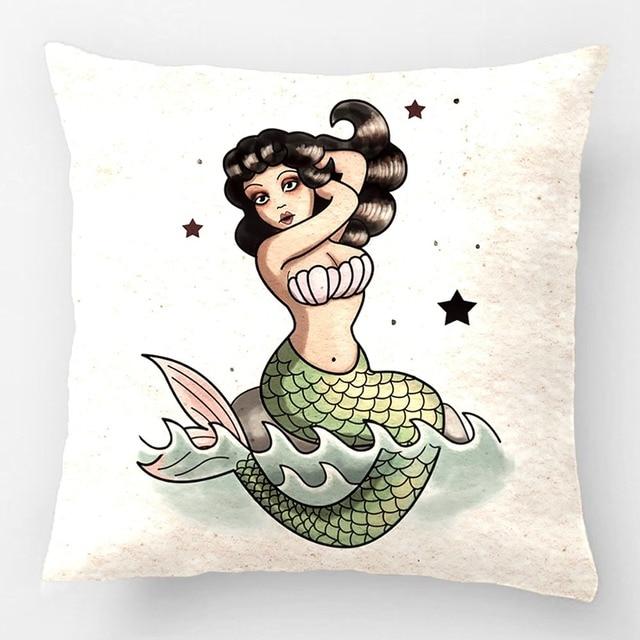 Hermosa Sirena de La Vieja Escuela Almohadas Cojín Decorativo de La ...