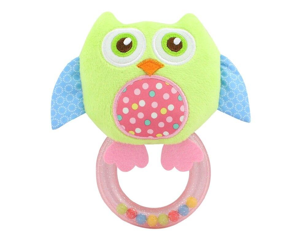 Cheap  Baby Rattle Hand Bell Toy 5 Style Owl Bird Chicken Animals Plush Happy Monkey Gift