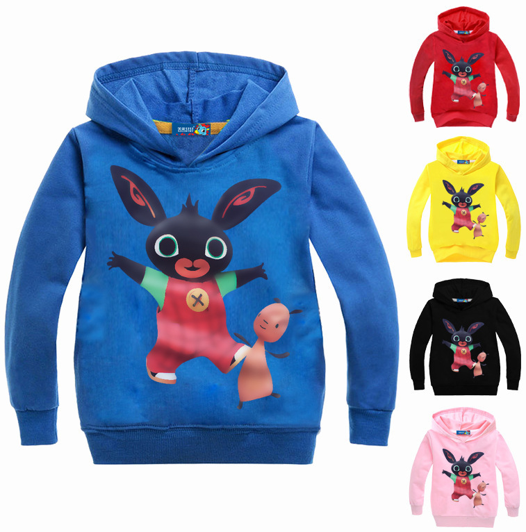DLF 2-16Y Cute UK GB Bing Bung Rabbit Hoodie Baby Hoodies Girls Kids Sweatshirt Boy Long Sleeve T-shirt Tops Sport Shirt Sweater
