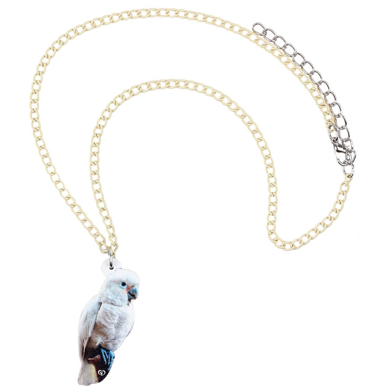 Bonsny Acryl Dumm Weiß Papagei Anhänger Halskette Kette Choker Mode Haustier Schmuck Für Frauen Mädchen Charme Viele Party Geschenk