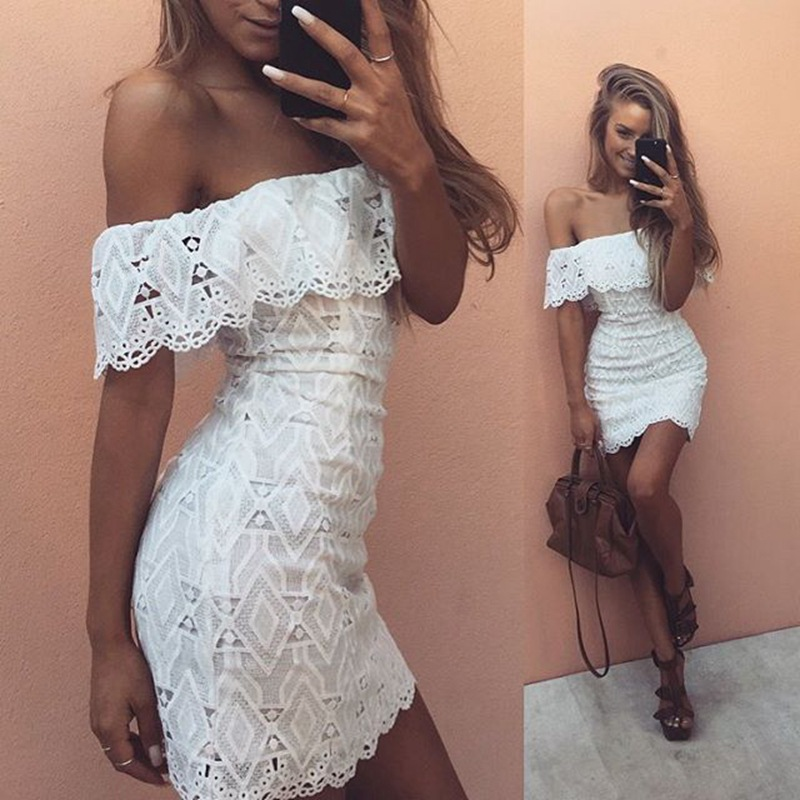 White Robe De Soiree New Fashion Cocktail Dress 2019 Off Shoulder Sexy Lace Womens Elegant Wedding Party Gowns