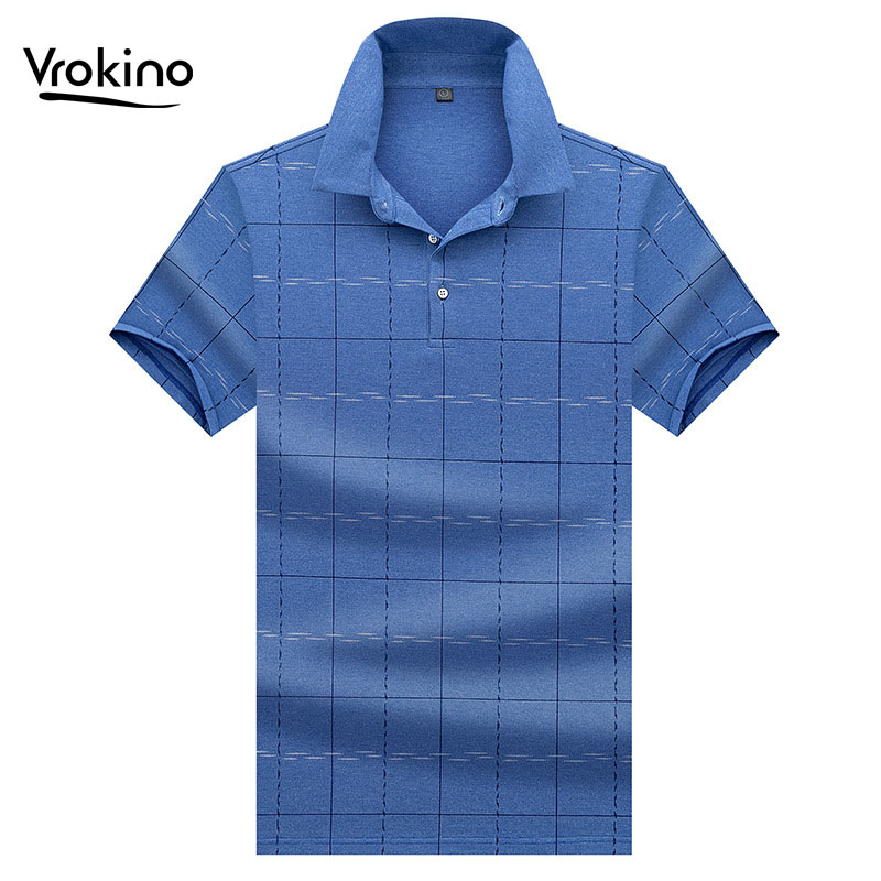 VROKINO 2019 New Men's Color   Polo   Shirt Men's Business Casual High Quality Big Plaid   Polo   Shirt Men's Summer High Quality Tops
