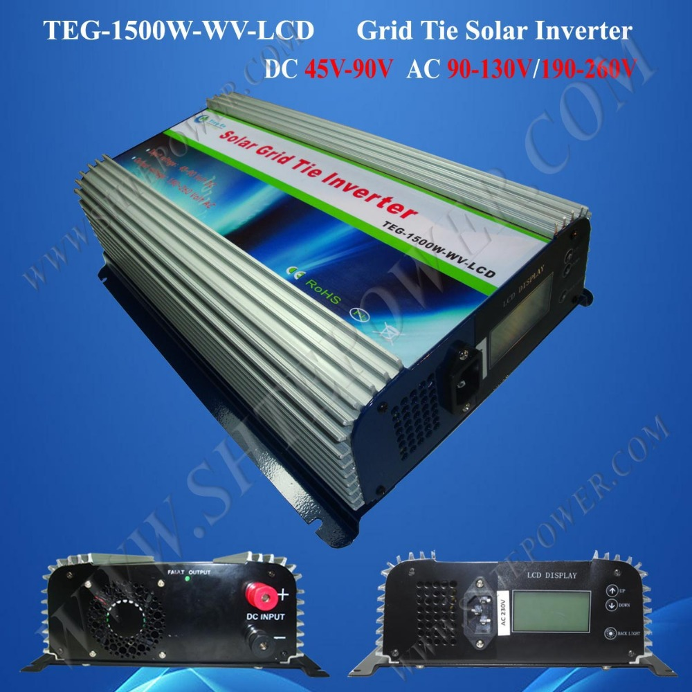 1500w grid tie inverter,  On Grid Solar Power Inverter, solar inverter grid tie1.5kw dc 45-90v to ac 190-260v output 300w solar grid on tie inverter dc 10 8 30v input to two voltage ac output 90 130v 190 260v choice