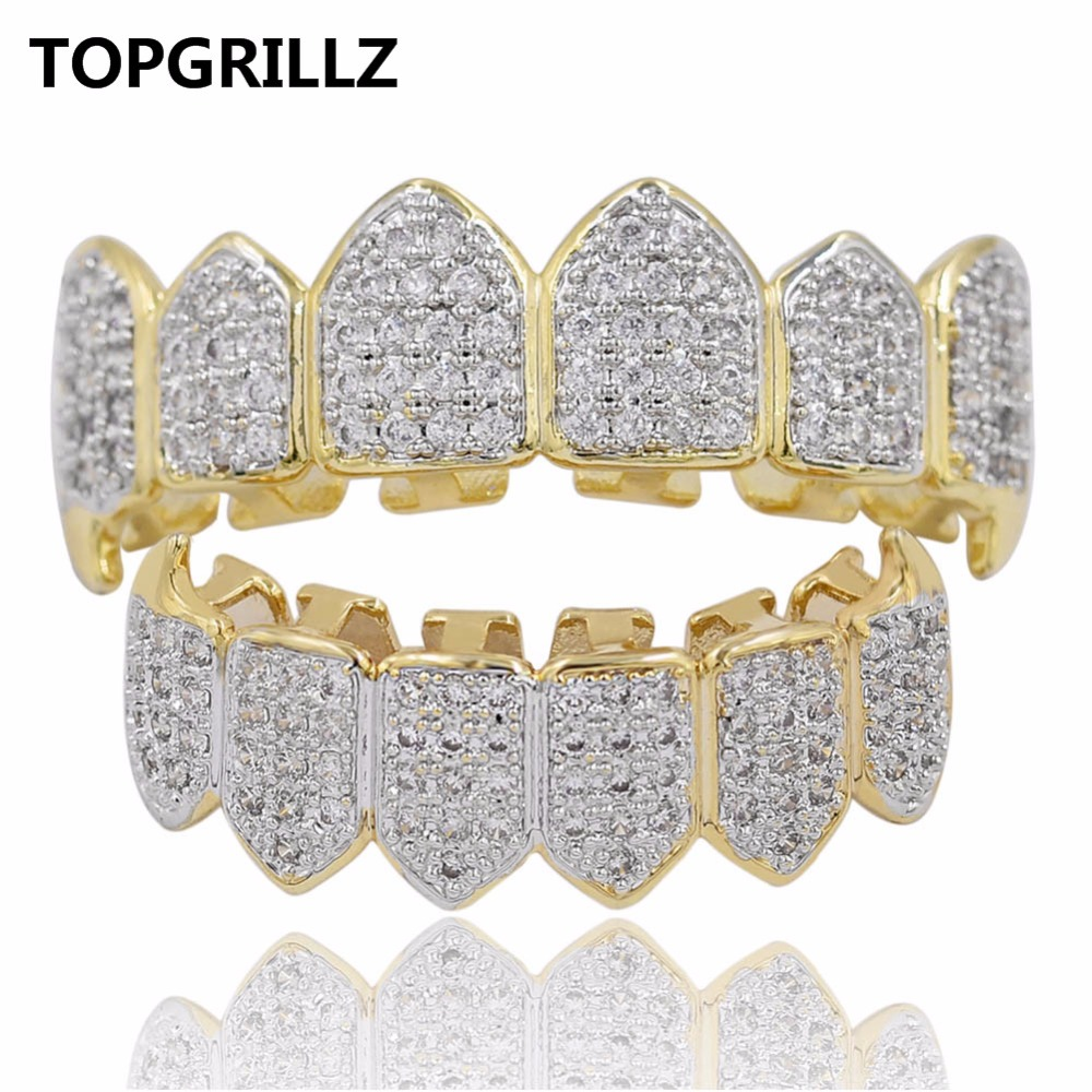 US $9 85 26% OFF|TOPGRILLZ Hip Hop GRILLZ Iced Out AAA Zircon Fang Mouth  Teeth Grillz Caps Top & Bottom Grill Set Men Women Vampire Grills-in Body