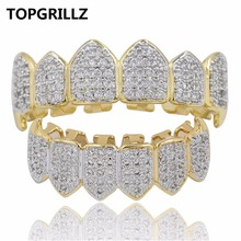TOPGRILLZ GOLD Color & SILVER Plated Micro Pave CZ Top Bottom Gold Fang GRILLZ Hip Hop Vampire Teeth Grills Set Ship From US