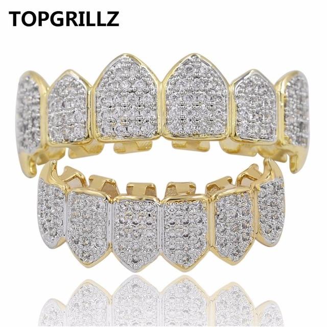 TOPGRILLZ Hip Hop GRILLZ Iced Out AAA Zircon Fang Mouth Teeth Grillz Caps  Top   Bottom Grill Set Men Women Vampire Grills f1c9f69e7c