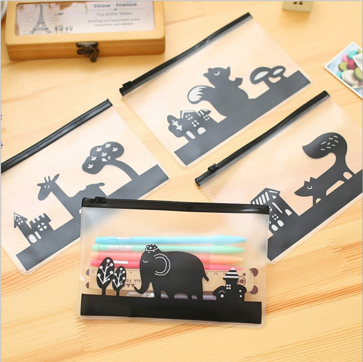 Objective 1pcs New Novelty Animals Cartoon Elephant Pen Bag File Bag Transparent Giraffe Pvc Waterproof Stationery Bag E2072 Filing Products