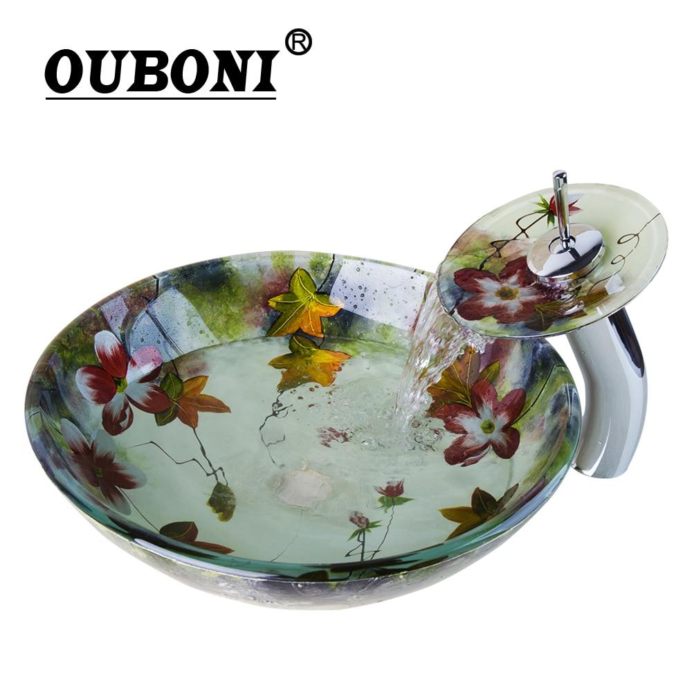 OUBONI Tempered Glass Basin Sink Washbasin Faucet Set Counter top Washroom Basin Vessel Vanity sink& bathroom facuet