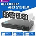 4CH Sistema de CCTV AHD 1080 P HDMI 4CH CCTV AHD DVR 4 UNIDS 2MP IR AHD Cámara 2000 LÍNEAS de TV CCTV Cámara de Seguridad del Sistema de Vigilancia