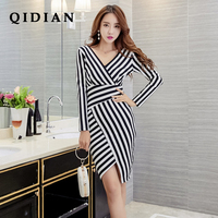 QI DIAN 2018 Spring And Summer New Self Cultivation Ladies Dress Fashion Striped Dress Arm P02