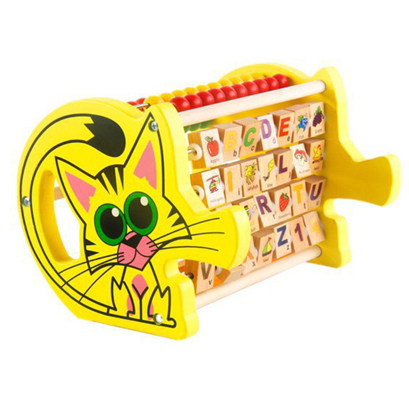 Wooden Multi Function Abacus Math Toys Cat Beads Kids Early Learning Educational Gift