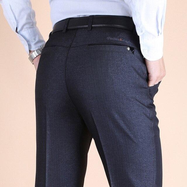 Autumn and winter thick Anti wrinkle DP men's trousers high waist casual suit pants men dress pants long Loose pantalon