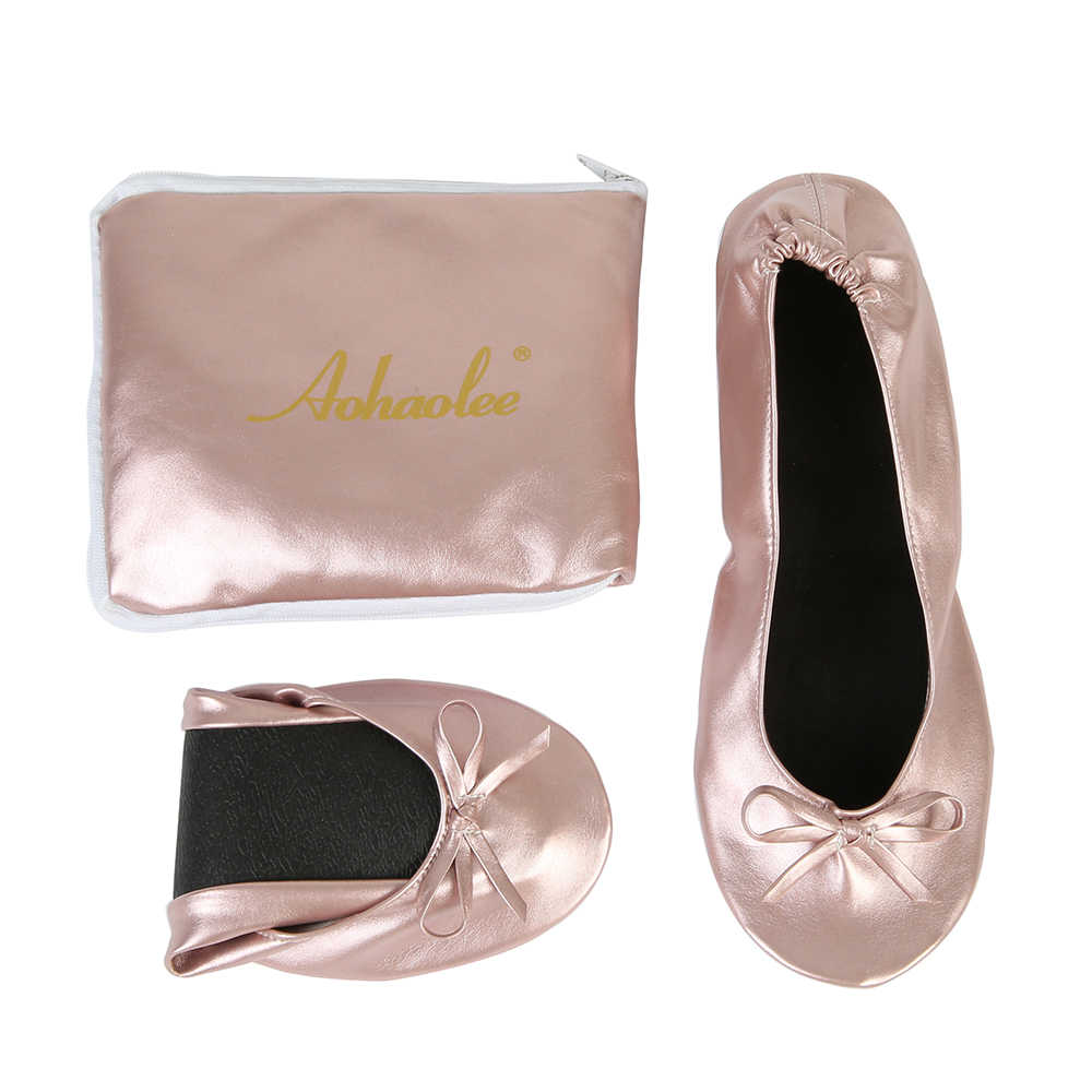 Women Shoes Flats Portable Fold Up Ballerina Flat Shoes Roll Up Foldable Ballet After Party Shoes For Bridal Wedding Party Favor