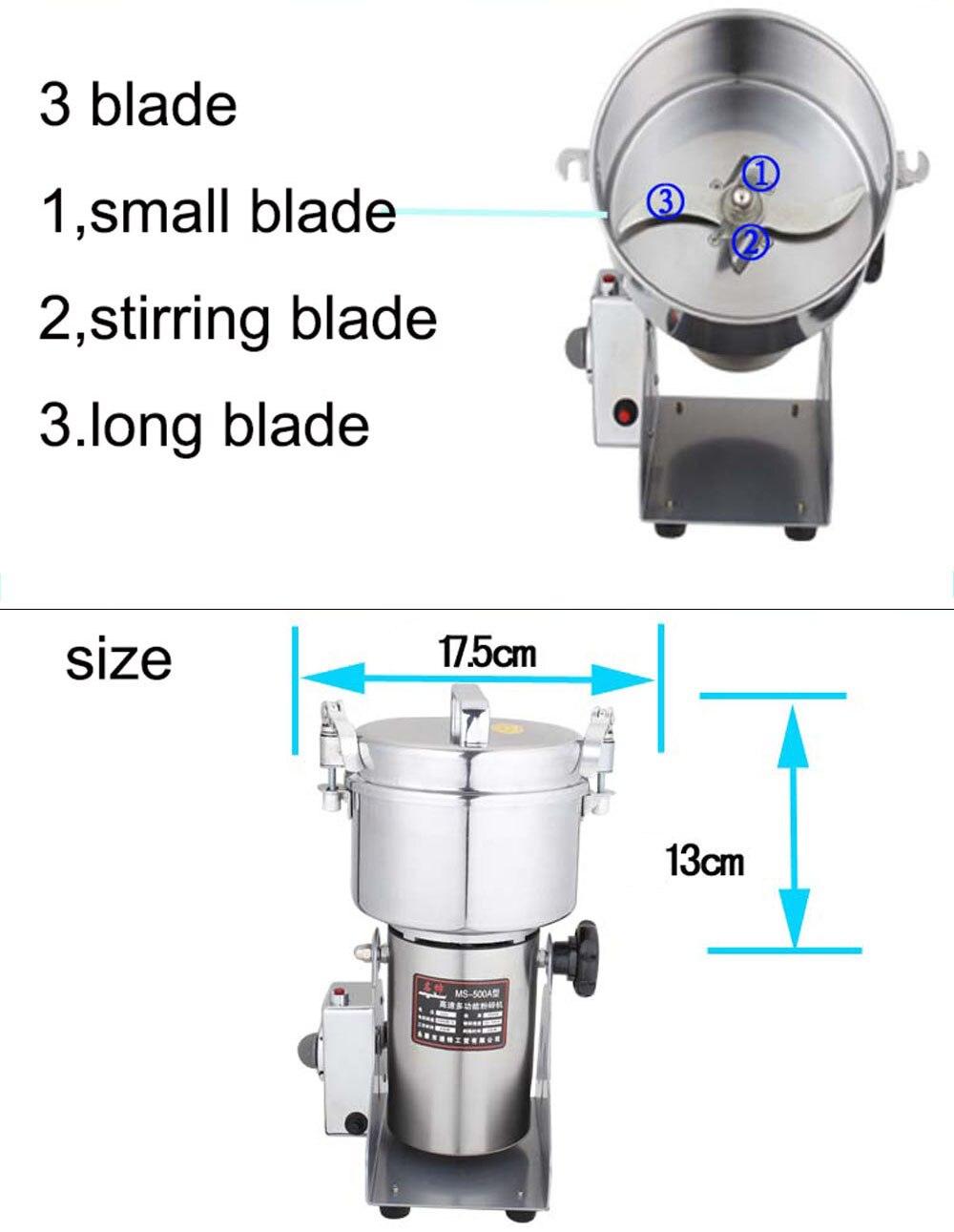 500 г качели полностью из нержавеющей травы шлифовальный станок устройство для измельчения продуктов кофемолка измельчитель шоколада мельница для мускатного ореха для домашнего использования