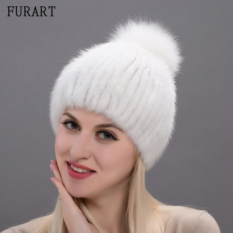 women winter beanie hat mink fur knitted hat for female fox fur pom pom knitted mink hats women's warm Russian caps DHY17-25