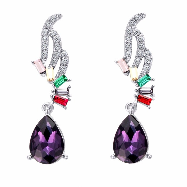 Aretes De Mujer Modernos 2018 Luxury Purple Jewelry Cubic Zirconia Earrings Fashion Women S Favorite