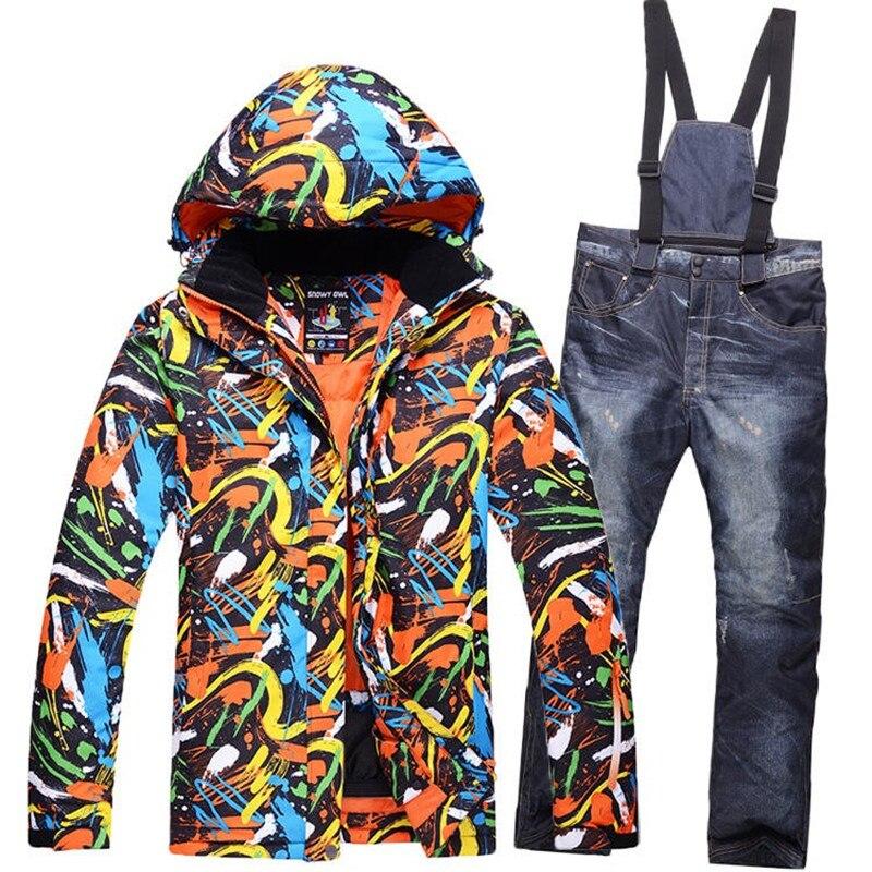 10 K kits de ski pour hommes vêtements de snowboard imperméables et coupe-vent costumes d'hiver vestes de Ski + pantalons suspendus pour hommes