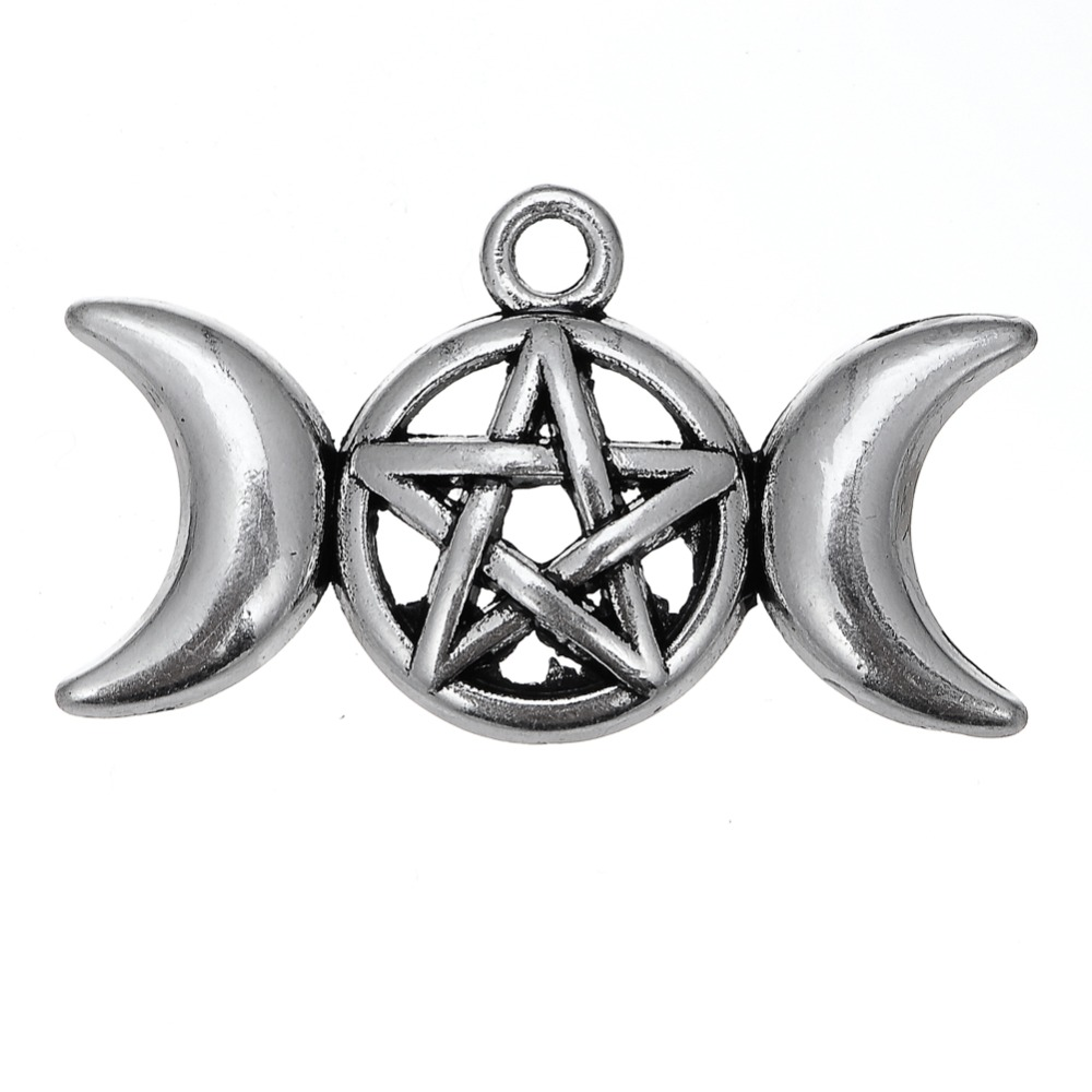 Wholesale antique silver plated triple moon goddess pendant charms item specifics aloadofball Images