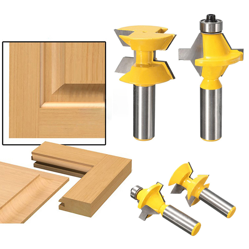 OOTDTY Free Shipping 2018 2Pcs 1/2 Shank Router Bit Set 120 Degree Woodworking Groove Chisel Cutter Tool  OCT6_40 ootdty electric rivet gun tool nut