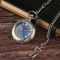 Caja de cristal plateado de moda, reloj de bolsillo con esfera de Número romano negra, reloj de bolsillo mecánico con cadena
