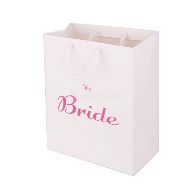 Large Bride Gift Bag Wedding Hen Party Paper Favour With Handle White