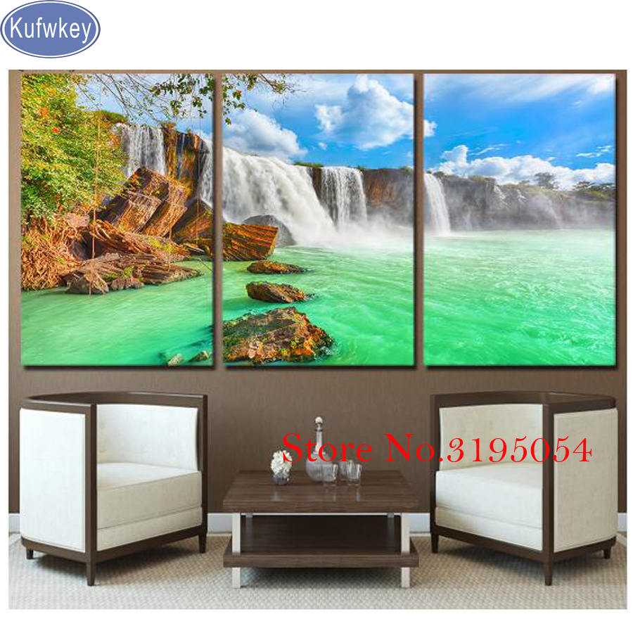 5D DIY Diamond Embroidery 3 piece waterfall landscape Diamond Painting Cross Stitch 3dPainting Full Square Drill Mosaic Pictures