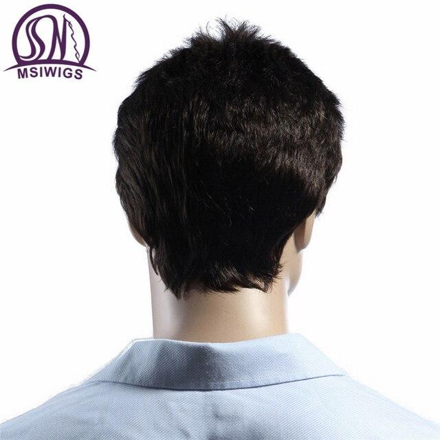 MSIWIGS Lisse Court Hommes Perruques Résistant À La Chaleur Japonais Fiber Brun Foncé Naturel Cheveux Mâle Perruque Synthétique Noir Couleur Hommes Toupet 3
