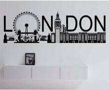 London Skyline POP GROTE Vinyl Muurtattoo Sticker Art Decor Thuis Slaapkamer Ontwerp Mural Stad moderne(China)