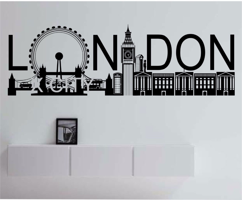 London skyline pop large vinyl wall decal sticker art decor home bedroom design mural city modern