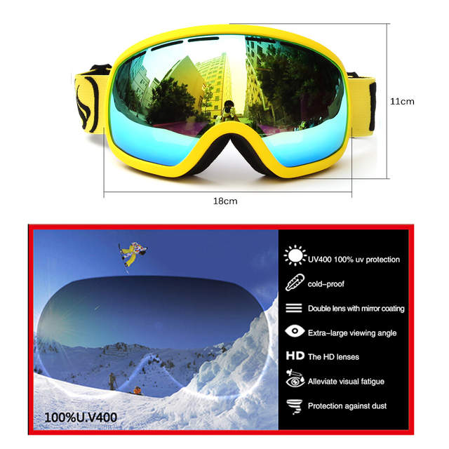 57369eca6fa BENICE SNOW-2706 Skiing Goggles Anti-fog Big Ski Mask Glasses Skiing  Eyewear Snow